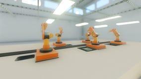 O braço do robô recolhe uma impressora 3d na fábrica ilustração stock