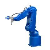 O braço robótico da indústria azul isolou trajeto de grampeamento incluído fotos de stock royalty free