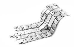 O bracelete de aço inoxidável dos homens de prata Foto de Stock Royalty Free