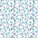 O branco das flores azuis do teste padrão ' ilustração do vetor