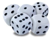O branco grande corta em uma pilha - jogada em um jogo de excrementos, yatzy ou em qualquer tipo do jogo dos dados contra um fund fotografia de stock