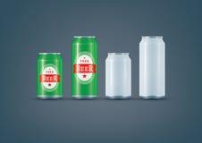 O branco modelo da lata pode/cerveja Imagens de Stock