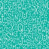 O branco no alfabeto verde rotula o teste padrão sem emenda Imagem de Stock