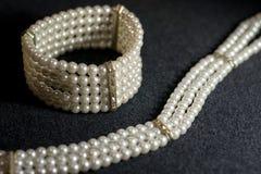 O branco peroliza a jóia Imagem de Stock Royalty Free