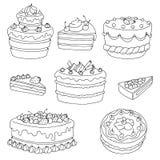 O branco preto gráfico da sobremesa do bolo isolou ilustração ajustada Imagens de Stock