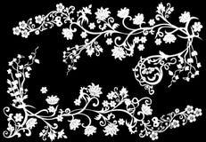 O branco ramifica ilustração no preto Fotos de Stock Royalty Free