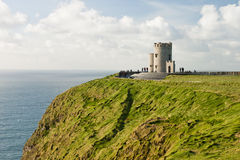 O'Brien's Tower on Cliffs of Moher in Ireland. O'Brien's Tower marks the highest point of the Cliffs of Moher in County Clare, Ireland Stock Image