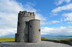 O'Brien's tower at the cliffs of Moher, Irelan. Medieval O'Brien's tower at the atlantic coast of Ireland at the cliffs of Moher, county Clare Royalty Free Stock Photo