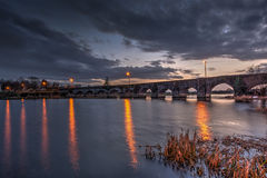 O'Briens's Bridge 4. O'Briens bridge at sunset with last light of the sun being replaced by dark clouds Royalty Free Stock Image