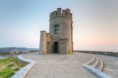 O Briens Tower. On Cliffs of Moher at sunset Royalty Free Stock Photos
