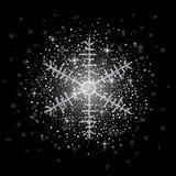 O brilho cobriu o floco de neve de prata com no fundo transparente Cartão, ano novo feliz do convite e Natal ilustração do vetor
