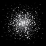O brilho cobriu o floco de neve de prata com no fundo transparente Cartão, ano novo feliz do convite e Natal ilustração stock
