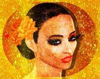 O brilho do ouro e a folha, 3d rendem a imagem digital da arte do fim da cara do ` s da mulher acima Imagens de Stock