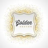 O brilho do ouro Sparkles fundo brilhante do vetor do quadro de etiqueta do Livro Branco dos confetes Imagem de Stock Royalty Free
