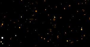 O brilho metálico dourado de queda foil confetes, movimento da animação no fundo preto, evento do feriado do ouro e o divertiment ilustração do vetor