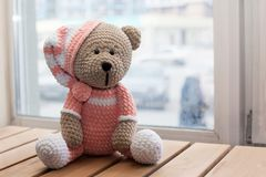 O brinquedo de Teddybear fez malha na técnica de fazer malha o amigurumi Imagem de Stock
