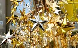O bronze de prata do ouro stars a decoração Fotografia de Stock