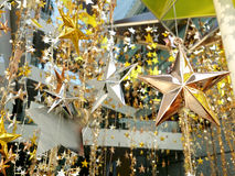 O bronze de prata do ouro stars a decoração Foto de Stock Royalty Free