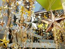 O bronze de prata do ouro stars a decoração Imagens de Stock