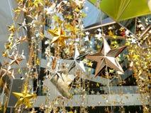 O bronze de prata do ouro stars a decoração Imagens de Stock Royalty Free