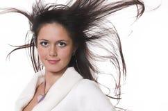 O brunette com em cabelo do vôo Imagens de Stock