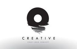 O Brushed Letter Logo. Black Brush Letters design with Brush str Royalty Free Stock Photo