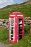 O BT idoso telefona à caixa no distrito do lago que está sendo renovado Fotografia de Stock Royalty Free