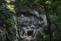 O buddha na área cênico de Lingyin Imagens de Stock Royalty Free