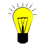 o bulbo, amarelos incandescentes com um esboço preto, ideias do caráter e lâmpada da energia iluminam-se Fotografia de Stock Royalty Free
