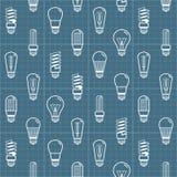 O bulbo de lâmpada branca mostra em silhueta o fundo sem emenda Ilustração do vetor Imagem de Stock Royalty Free
