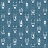 O bulbo de lâmpada branca mostra em silhueta o fundo sem emenda Ilustração do vetor Imagens de Stock Royalty Free