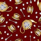 O bule e o copo sem emenda da cerâmica do teste padrão entregam o desenho Fotos de Stock Royalty Free