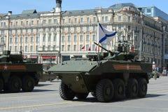 O Bumerangue o mais atrasado do BTR do russo no ensaio geral da parada da vitória em Moscou Imagem de Stock