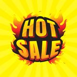 O burning quente da venda etiqueta o disconto e as etiquetas para a venda quente bandeira Imagens de Stock Royalty Free