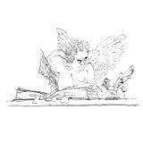 O burocrata do anjo retira uma página do livro Fotos de Stock