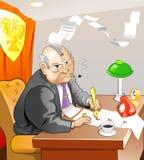 O burocrata irritado senta-se e escreve-se Foto de Stock