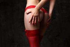 O burro da mulher no calcinha vermelho do laço Foto de Stock Royalty Free