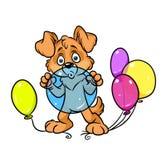 O cão balloons a ilustração dos desenhos animados da celebração ilustração do vetor