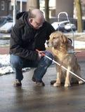 O cão de guia está ajudando um homem cego fotografia de stock