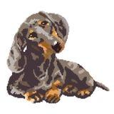 O cão do bassê manchou pintado nos quadrados, pixéis Ilustração do vetor ilustração do vetor