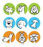 O cão enfrenta a coleção dos desenhos animados Foto de Stock