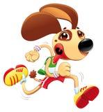 O cão engraçado está funcionando. ilustração stock