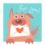 O cão engraçado trouxe o envelope Vetor Fotos de Stock Royalty Free