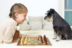 O cão ensina a criança jogar a xadrez Seu movimento Imagens de Stock