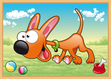 O cão está funcionando no prado ilustração do vetor