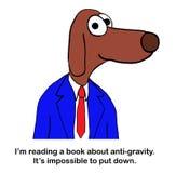 O cão está lendo sobre a anti gravidade ilustração royalty free
