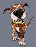 O cão feliz dos desenhos animados que veste um colar anda Imagem de Stock Royalty Free
