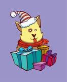 O cão obtém presentes de Natal Imagens de Stock Royalty Free