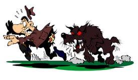 O cão persegue um homem amedrontado Imagem de Stock