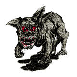 O cão preto do inferno ilustração do vetor